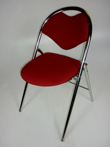 additional images for Burgundy chrome frame folding chairs