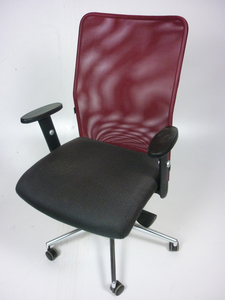 additional images for Techo SCIO burgundy/brown mesh back task chairs