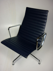 additional images for Vitra Eames Aluminium Chair in navy blue leather
