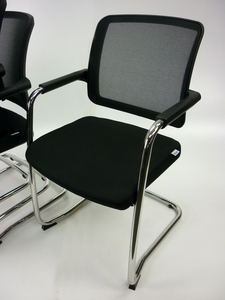 additional images for RIM Flexi black mesh cantilever stacking chairs