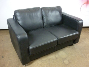 additional images for Boss Design Boxer black leather 2 seater sofa