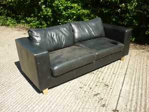 additional images for Black leather 2 seater sofa