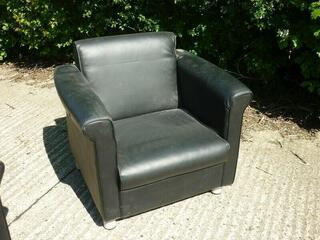 Black leather sofa and armchairs suite