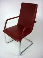 additional images for Red leather Brunner Finasoft cantilever chair