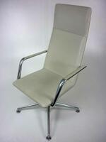 additional images for Cream leather Brunner Finasoft closed arm chair