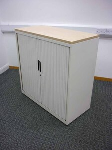 additional images for 1000mm high cream Bisley tambour cupboards with maple top