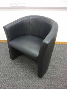additional images for Black faux leather tub chairs