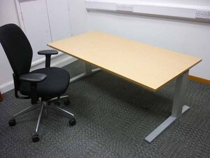 additional images for Bene beech 1600x800mm adjustable height desks