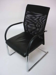 additional images for Black leather mesh back meeting chairs
