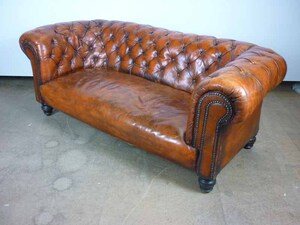 additional images for Tan leather Chesterfield style 2 seater sofa