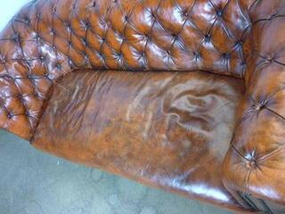 Tan leather Chesterfield style 2 seater sofa