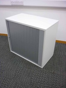 additional images for Desk high white tambour cupboard