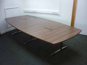 additional images for 3200 x 1500/1200mm walnut barrel shape table