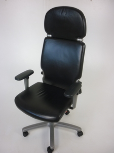 additional images for Black leather Comforto task chair with headrest