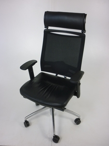 additional images for Black leather mesh back Sedus Open Up task chair