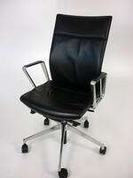 additional images for Black leather Girsberger Diagon task chairs