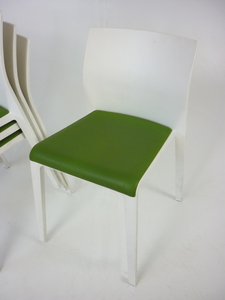 additional images for Green vinyl white stacking chairs