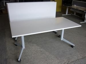 additional images for White Werndl/Steelcase flip top tables
