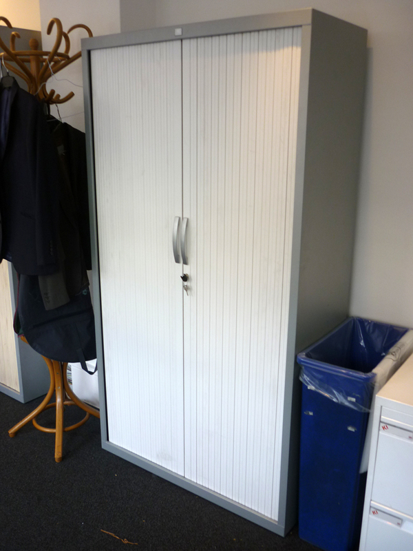 additional images for 1850mm high JG Group silver/white tambour cupboard
