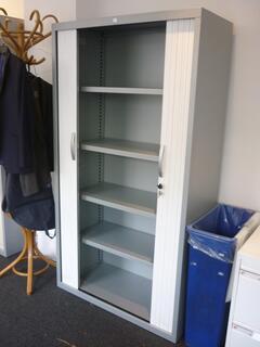 1850mm high JG Group silverwhite tambour cupboard