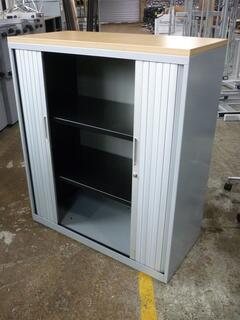 1180mm Bisley silver tambour cupboard