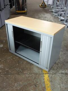 Desk high Bisley silver tambour cupboard with oak top