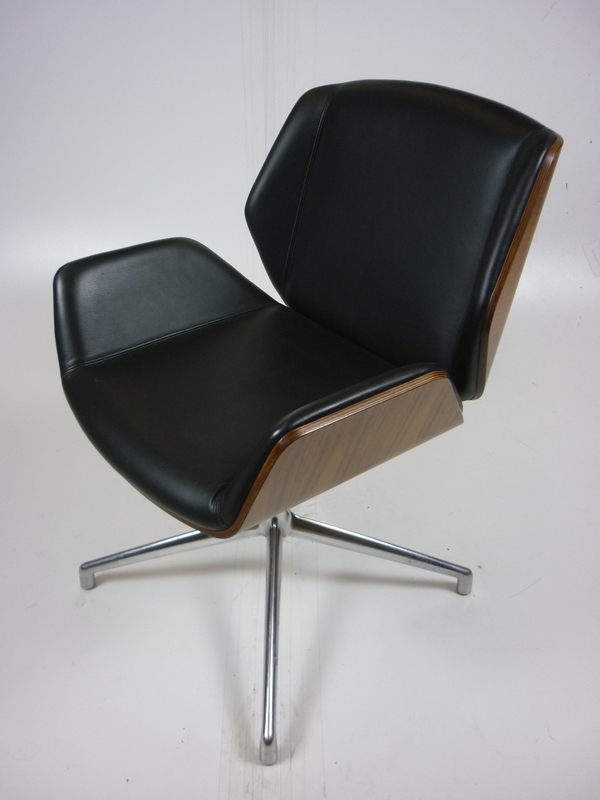 additional images for Black leather Boss Design Kruze chairs with walnut back