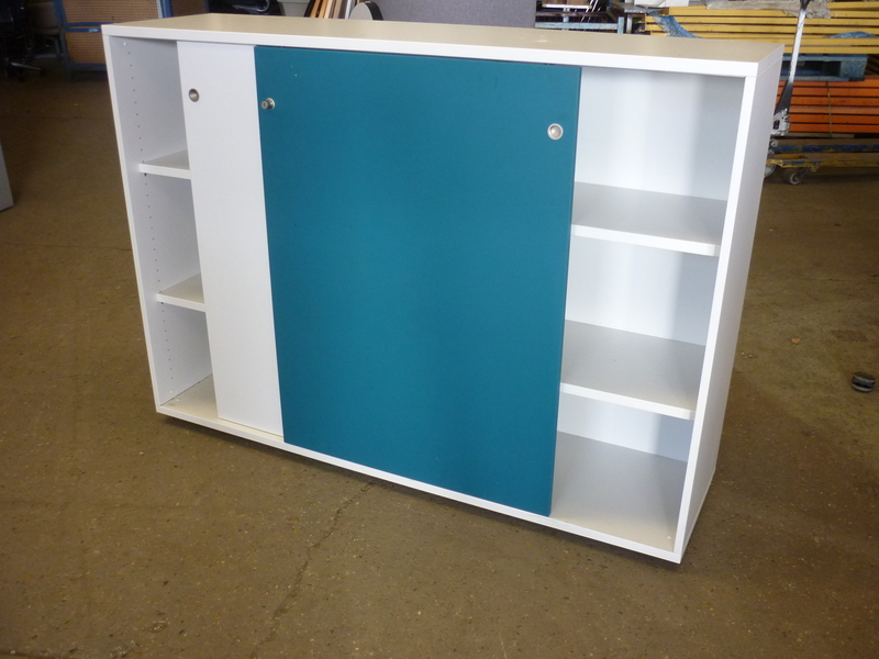 additional images for 1160mm high white/turquoise sliding door cupboards