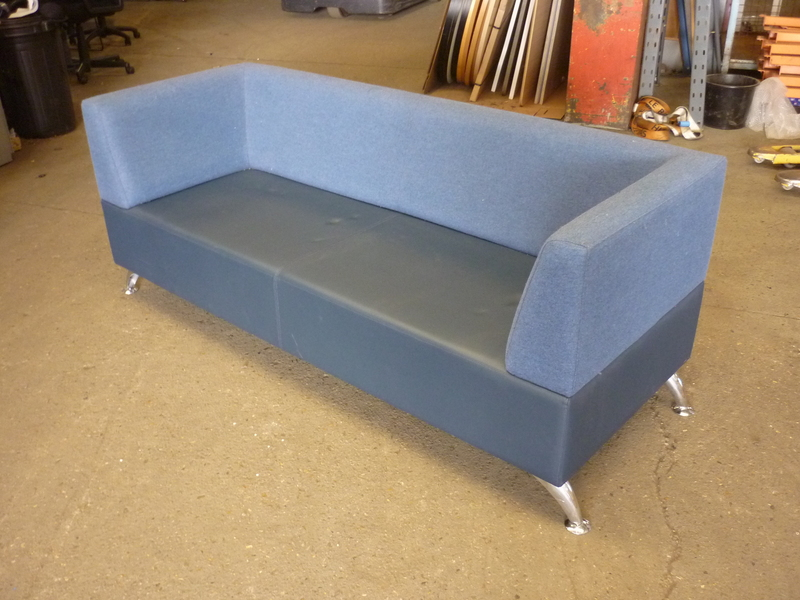 additional images for Blue faux leather and fabric 2 seater sofa