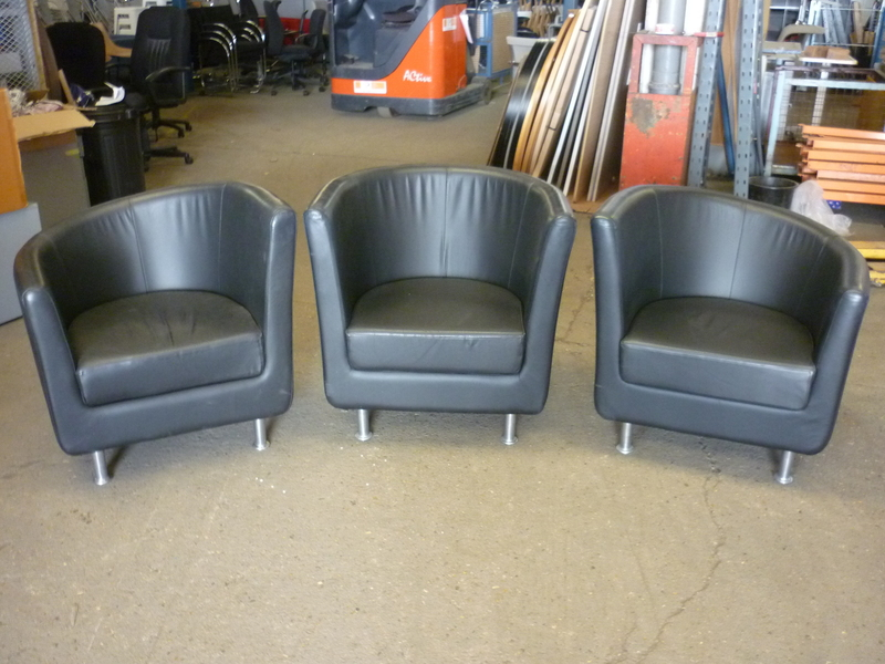 additional images for Black leather Boss Design Dipi chair suite