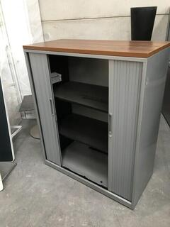 1280mm high Triumph silverwalnut tambour cupboard
