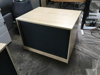 Desk high maplegraphite tambour cupboard