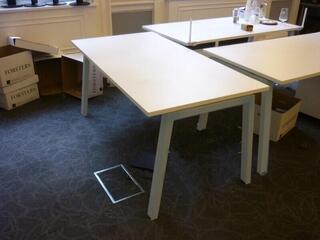 White Elite Linea 1600mm bench desks with silver legs per person