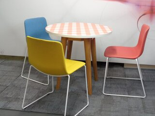 Circular table with gingham top