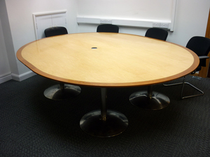 additional images for 2600 x 2200mm maple/cherry nearly round boardroom table (CE)
