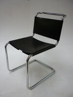 additional images for Knoll Spoleto black leather chairs