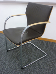 additional images for Chocolate brown leather meeting chairs
