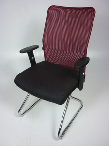 additional images for Techo SCIO burgundy/brown cantilever chairs