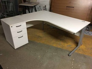 additional images for White left hand 1800x1200mm radial desk and pedestal