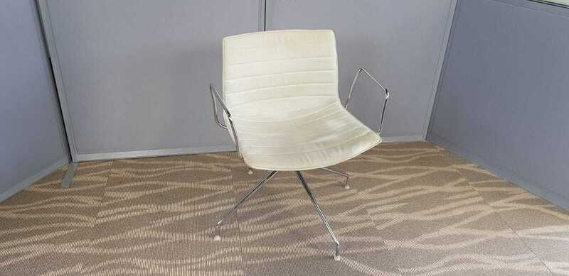 additional images for Arper Catifa 53 cream trestle base chairs with arms