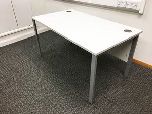 additional images for 1400 & 1200mm white desks with modesty panel