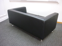 additional images for 2 seater black leather sofa (CE)