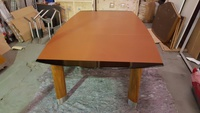 additional images for 3000 x 1600mm brown leather top barrel shape boardroom table (CE)