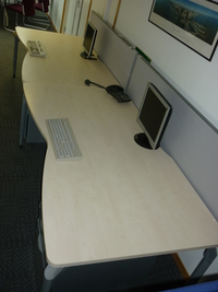 additional images for Steelcase maple 1800w x 1000/900d mm double wave desks