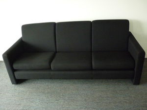 additional images for Pledge Aries black 3 seater sofa