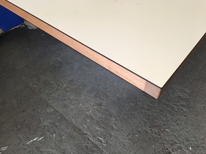 additional images for 3500 x 1400mm white boardroom table with walnut inserts (CE)