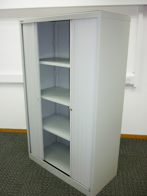 additional images for 1650mm high grey Bisley tambour cupboard