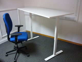1600x800mm white manual sitstand desk