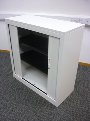 additional images for 1020mm high white tambour steel cupboards