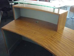 additional images for Light walnut curved reception desk